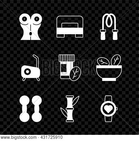 Set Women Waist, Big Bed, Jump Rope, Dumbbell, Bamboo, Smart Watch, Stationary Bicycle And Vitamin P