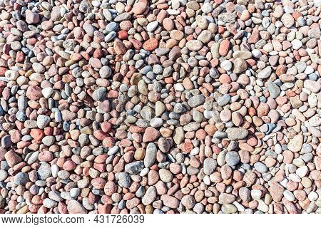 Natural Colorful Pebble Background Texture With Copy Space.sea Stone,sea Stones Top View. Background