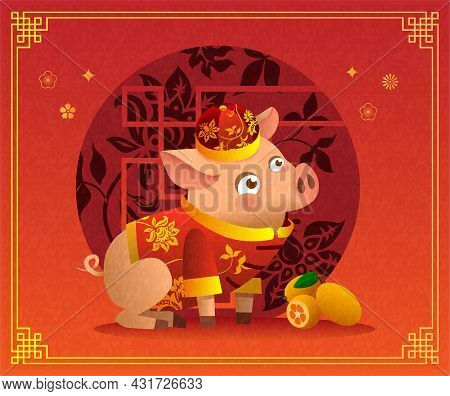 Chinese Little Pig Cartoon Character In Traditional Chinese Red Costume And Red Hat.