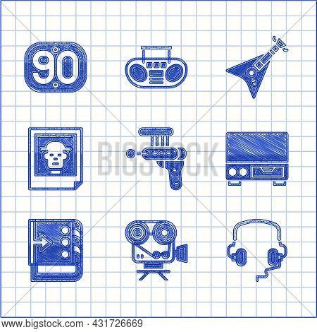 Set Ray Gun, Retro Cinema Camera, Headphones, Old Video Cassette Player, Sound Mixer Controller, Pho