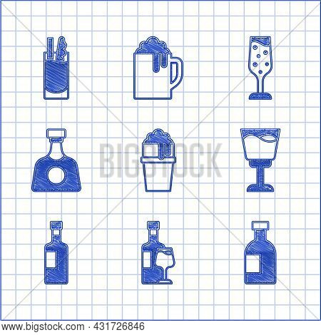 Set Glass Of Beer, Wine Bottle With Glass, Vodka, Tequila, Champagne And Cocktail Bloody Mary Icon.