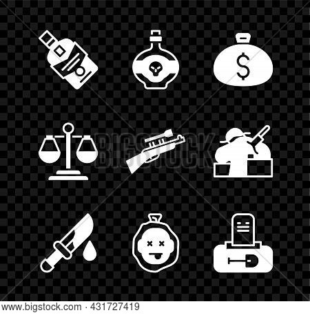 Set Whiskey Bottle, Poison In, Money Bag, Bloody Knife, Murder, Grave With Tombstone, Scales Of Just