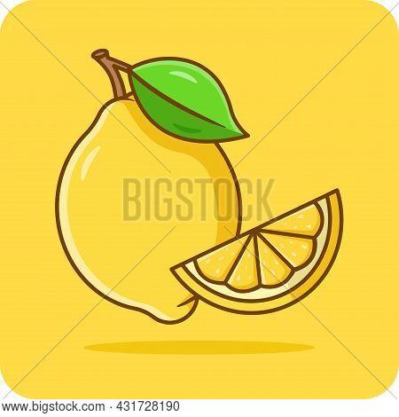 Lemon Flat Icon Design On Yellow Background, Emoji, Vector Design, Icon, Flat Design And Isolated.