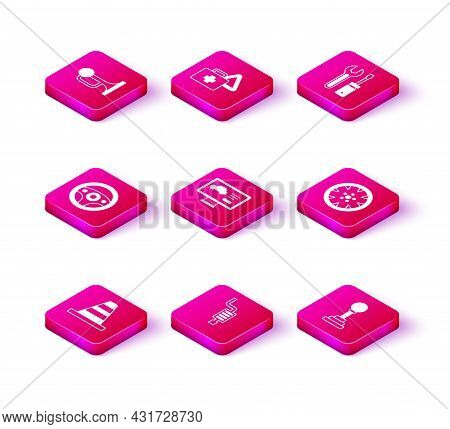 Set Traffic Cone, Car Muffler, Steering Wheel, Diagnostics Condition Of Car, Gear Shifter, Alloy, Sc