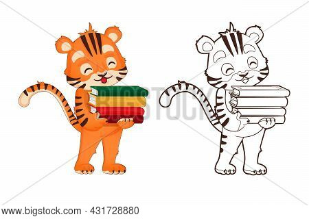 Coloring Book: Tiger Cub Holds A Book In His Hand. Vector, Illustration In Cartoon Style, Black And