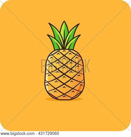 Pineapple Flat Design Orange Background, Emoji, Vector Design, Icon, Flat Design And Isolated.