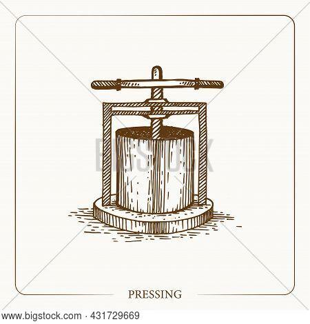 Pressing Apples To Make Cider, Hydraulic Press Vintage Sketch Garden Background. Hand Drawn Design.