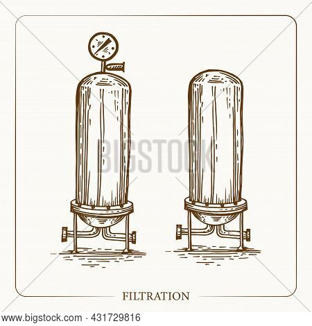 Metal Container For Filtration Infuse Apples Pressure And Temperature Sensor. Vintage Sketch Garden