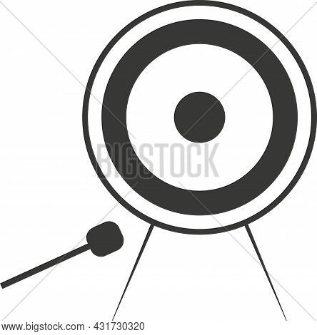 Black Flat Silhouette Of A Gong With A Beater.