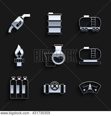 Set Oil Petrol Test Tube, Metallic Pipes And Valve, Motor Gas Gauge, Tank Storage, Industrial Cylind