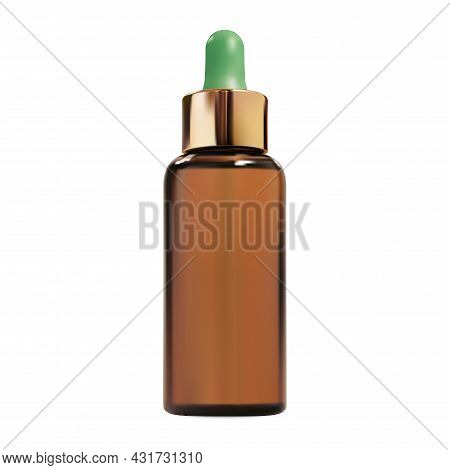 Cosmetic Dropper Bottle. Brown Glass Serum Essence Gold Eyedropper Product. Organic Collagen Packagi