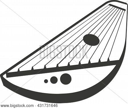 Black Flat Silhouette Of A Harp With Taut Strings.