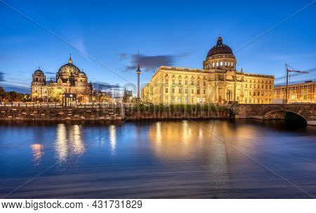 The Berlin Cathedral, The Tv Tower And The Reconstructed City Palace At Dawn