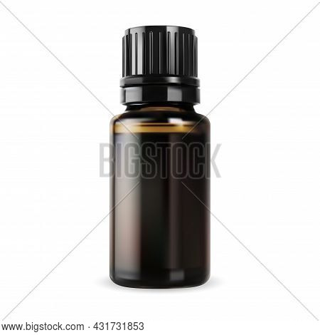 Essential Oil Bottle. Brown Glass Vial, Small Vector Container. Realistic Glossy Amber Packaging Wit