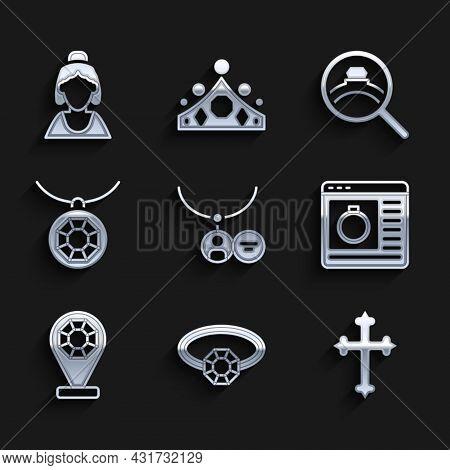 Set Locket On Necklace, Diamond Engagement Ring, Christian Cross, Jewelry Online Shopping, Store, Pe