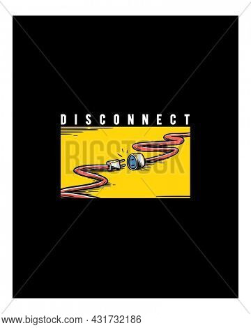 Disconnect illustration wall art print and poster.