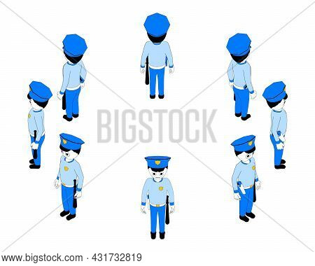 Cartoon Policeman In Isometric View From Different Angles. An Armed Police Officer Created In A Retr