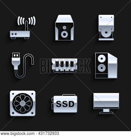 Set Ram, Random Access Memory, Ssd Card, Computer Monitor Screen, Case Of Computer, Cooler, Usb Cabl