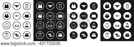 Set Pants, Belt, Undershirt, Skirt, Men Underpants, Winter Hat And Sweater Icon. Vector