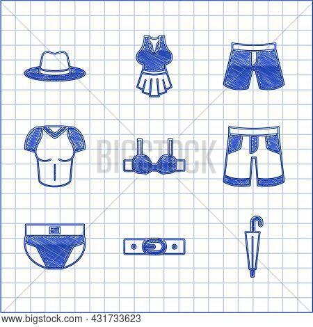 Set Bra, Belt, Umbrella, Short Or Pants, Men Underpants, T-shirt, And Man Hat Icon. Vector