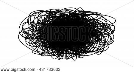 Tangled Grungy Round Scribble Isolated On White Background