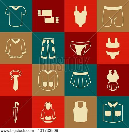 Set Shirt, Undershirt, Swimsuit, Pants, Sweater, T-shirt And Men Underpants Icon. Vector