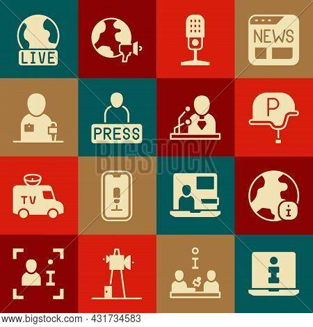 Set Information, World News, War Journalist, Microphone, Journalist, Live Report And Breaking Icon.