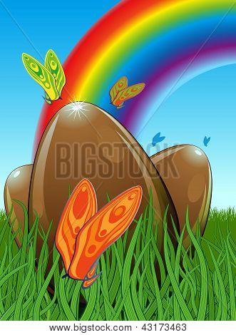 Three Chocolate Easter Eggs