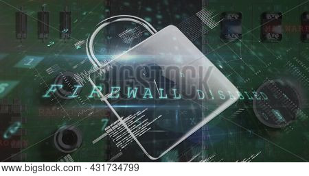 Image of multiple words and numbers over a padlock and microprocessor. digital interface global connections concept digitally generated image.