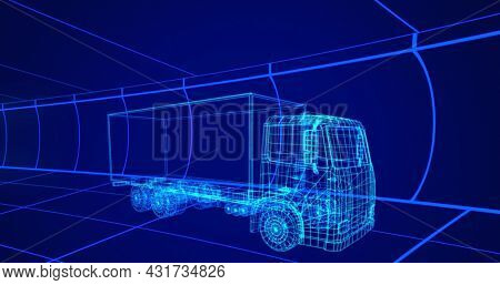 Image of 3d technical drawing of a truck in blue, with moving grid in the background 4k