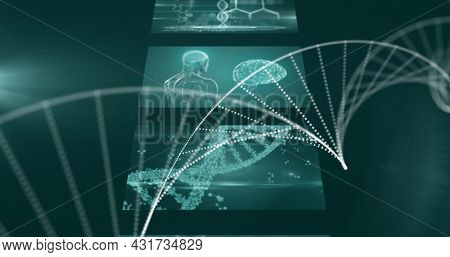 Image of dna spinning and screens with medical data processing. global technology digital interface connection communication concept digitally generated image.