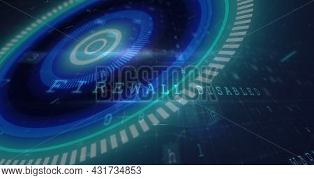 Image of scope scanning and cyber attack warning text on grid in background. Digital interface global connection and communication concept digitally generated image.