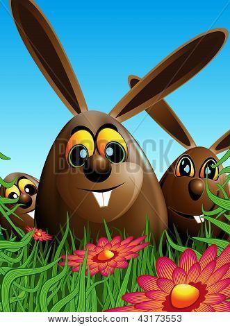 Three Easter Eggs Hidden In The Grass