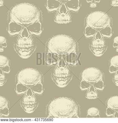 Seamless Pattern With Human Skulls In Beige Colors. Vector Background With Hand-drawn Skulls. Graphi