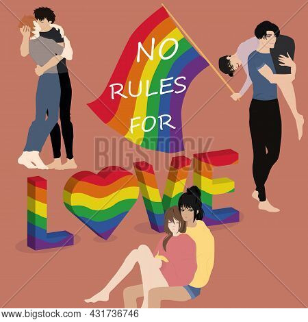 Lgbt Community.pride Parade. Group Of Gay, Lesbian, Bisexual Activists. Celebrating Love Parade. Rai