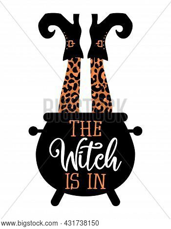 The Witch Is In, Witch's Brew - Halloween Quote On White Background With Pot. Good For T-shirt, Mug,