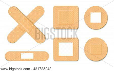 First Aid, Medical Bandage Or Patch. Adhesive Plaster For Damaged Skin And Wound. Set Of Different M