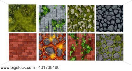 Game Ground Vector Seamless Pattern Tiles, Nature Environment Stone Texture Set, Green Grass, Rocks.