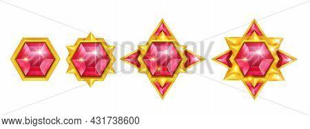 Game Gem Vector Stone Icon Set, Red Crystal Jewel Treasure Illustration Kit, Gold Star Award Medal.