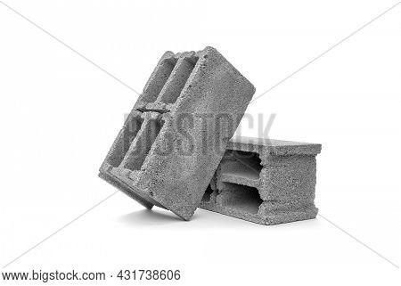 Gray cement cinder block on white background