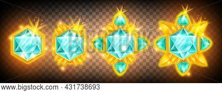 Game Gem Vector Crystal Icon Set, Diamond Ui Jewel Treasure Illustration Kit On Transparent Backgrou