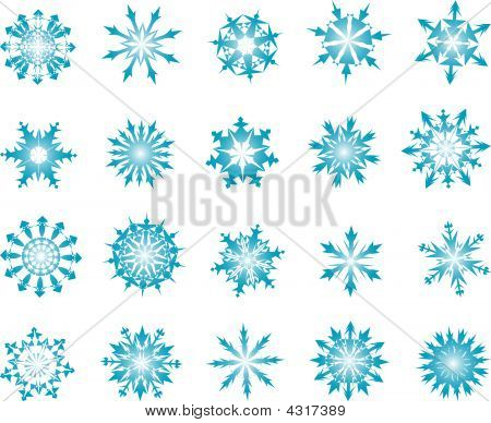 Set of vector snowflakes in different shape poster