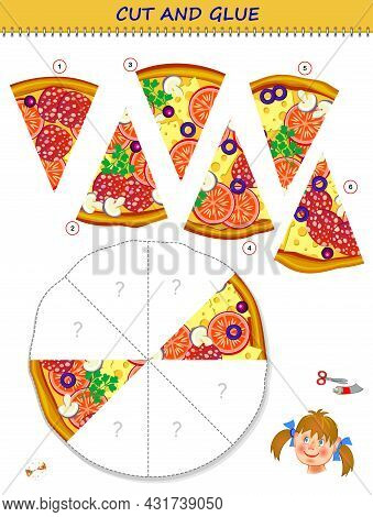 Logic Puzzle Game. Cut And Glue The Slices Of Pizza In Correct Places. Educational Page For Children