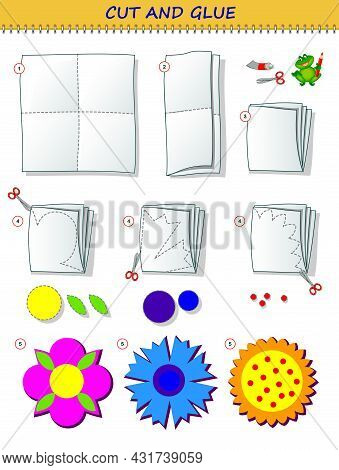 Educational Page For Children. Template With Exercise For Kids. Use A Scissors To Cut From Sheet Of