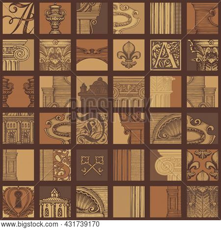 Abstract Seamless Pattern In Vintage Style On Theme Of Ancient Architecture And Art. Vector Backgrou