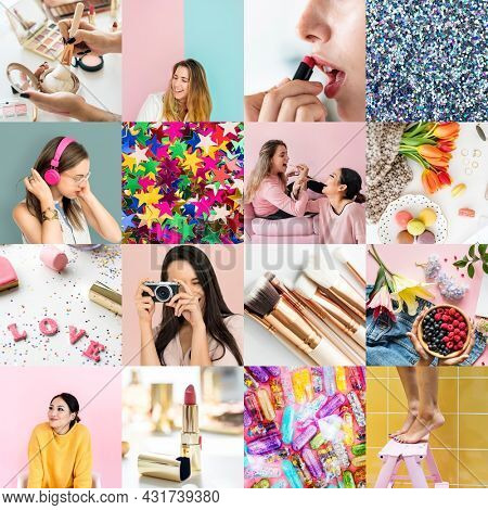 Compilation of girly makeup themed images