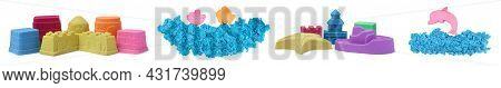 Set With Different Figures Made Of Colorful Kinetic Sand On White Background. Banner Design