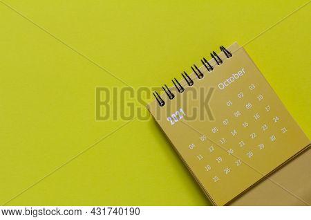 Tear-off Calendar For October 2021. Desktop Calendar For Planning And Managing Each Date
