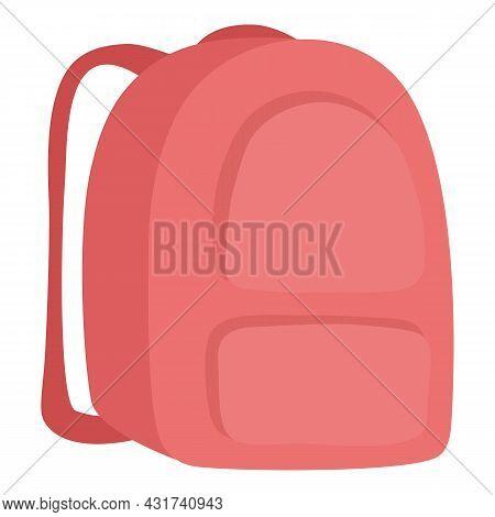 Textile School Red Backpack Icon Cartoon Vector. Bag Pack. Rucksack Satchel