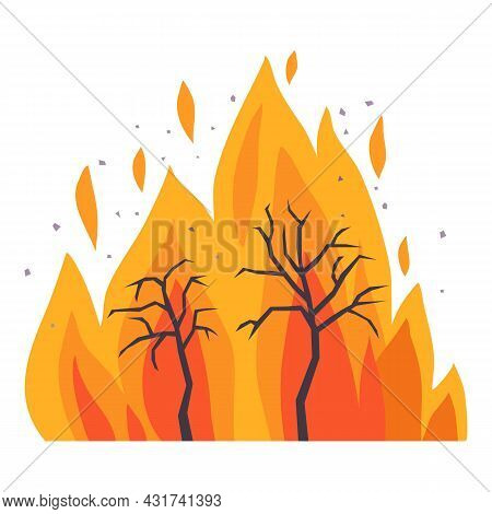 Forest Fire Icon Cartoon Vector. Tree Disaster. Wild Burnt Wildfire